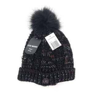 Steve Madden Marled Cable Knit Pom Pom Beanie Hat